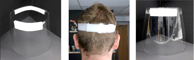 A collection of 3 images of the PPE Face Visor showing how it is placed on a person's head